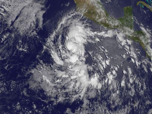 NOAA's GOES-West satellite captured this visible image of renamed Tropical Storm Amanda on May 23 at 1500 UTC/11 a.m. EDT. Credit: NASA/NOAA GOES Project