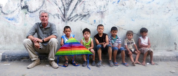 Anthony Bourdain- Parts Unknown 111: Israel.  Tony with a group of kids outside Gaza City