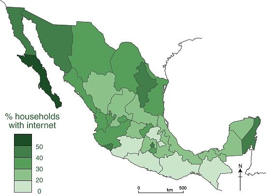Pattern of internet access, 2013. Data: INEGI. Credit: Geo-Mexico