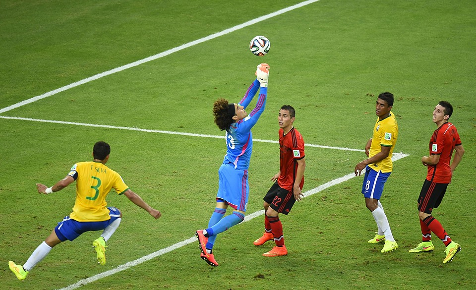 Man of the Match Guillermo Ochoa saves another attempt at a goal by Brazil (Photo credit FIFA)