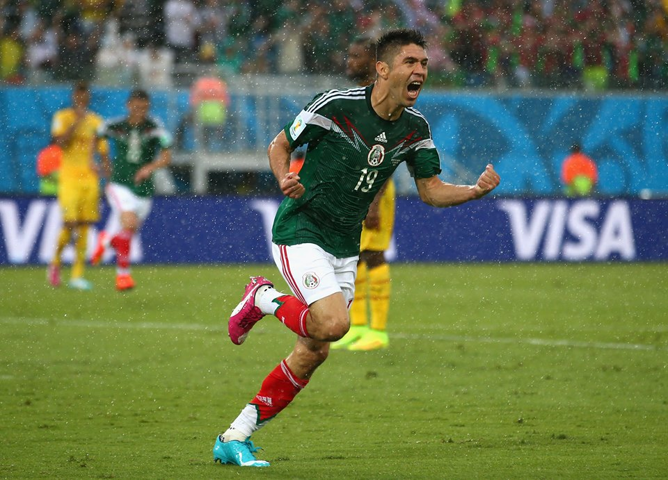 Mexico forward Oribe Peralta celebrates scoring the game-winning goal for El Tri in the 61st minute (Credit FIFA)