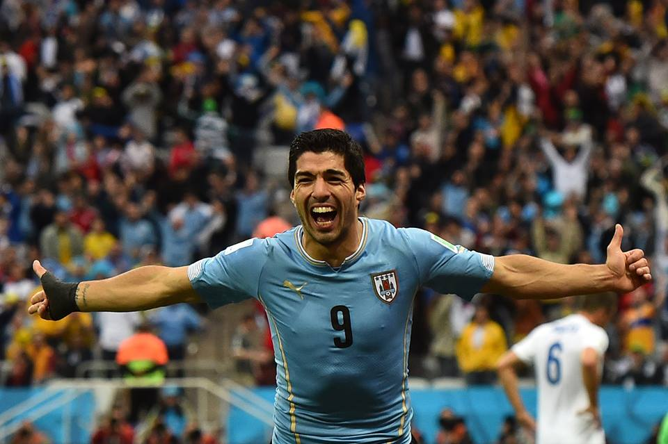 Suarez celebrates scoring the opener in the 39th minute against England (Photo credit FIFA)