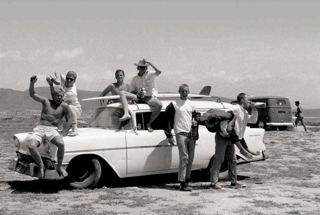 Group of surfers at Bahía de Todos Santos, early 1960's