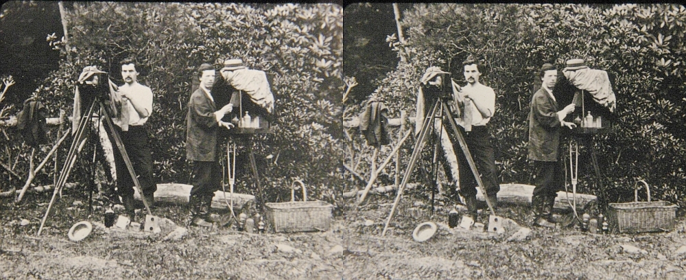 Wet-Plate Photographer in the Field. (c. 1890) Stereo photography is as old as photography itself