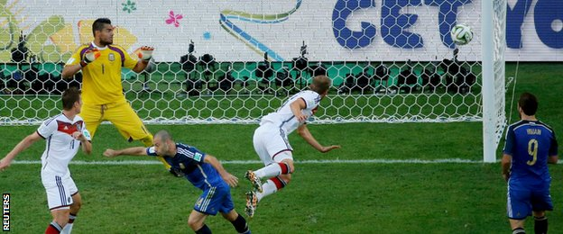 Germany defender Benedikt Howedes headed against the post in first-half stoppage-time