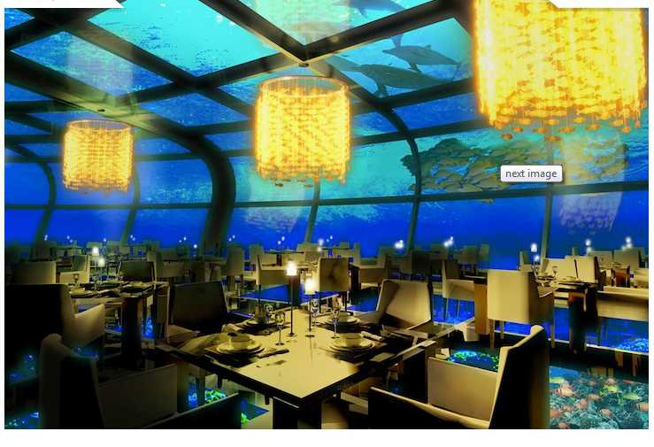 The luxury resort also includes underwater dining and shopping galore