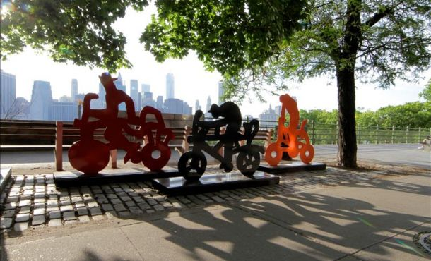 An undated photograph shows one of the 122 bicycle sculptures placed around New York City by 83-year-old Mexican artist Gilberto Aceves Navarro to urge people to get moving, enjoy their freedom and protect the environment. EFE
