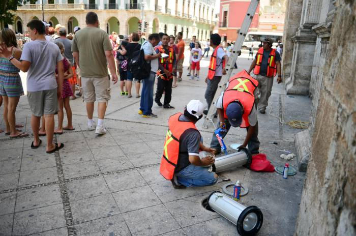 Men at work in Merida Cathedral
