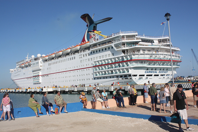 Carnival Ecstasy Cruiser docked in Progreso