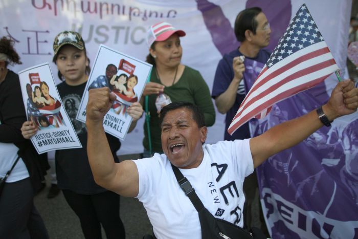 ONE A SEVERAL MAY DAY IMMIGRATION-THEMED RALLIES ON MAY 1, 2014 IN LOS ANGELES. DEMONSTRATORS ARE CALLING FOR IMMIGRATION REFORM AND AN END TO DEPORTATIONS OF UNDOCUMENTED RESIDENTS. (PHOTO BY DAVID MCNEW/GETTY IMAGES)
