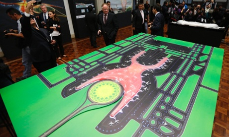 A mock-up of the new international airport. Photograph: Tomas Bravo/Reuters