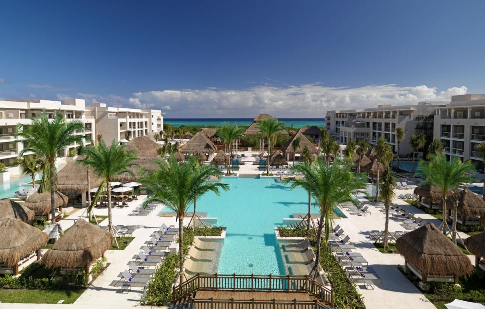 Swimming pool is center of activity at the Paradisus La Perla in Playa Del Carmen.