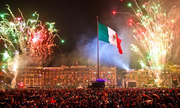 """Día del Grito"" in Mexico City Main Square (Zócalo)"