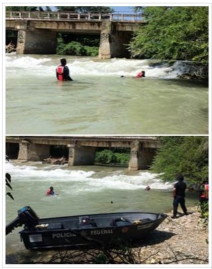 Members of the National Gendarmerie and the Federal Police searching in the Cocula River