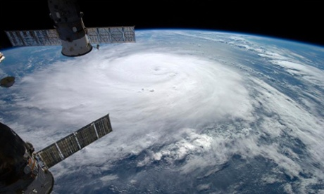 Hurricane Gonzalo is seen over the Atlantic Ocean in this Nasa image taken by the astronaut Alexander Gerst from the International Space Station on Friday. Photograph: Nasa/Reuters