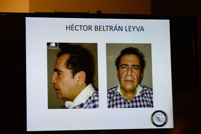 "Meet ""The H."" These are mug shots of Hector Beltran Leyva, leader of the Beltran Leyva drug cartel, displayed during a news conference late Wednesday after his arrest. (Photo: globalpost.com)"
