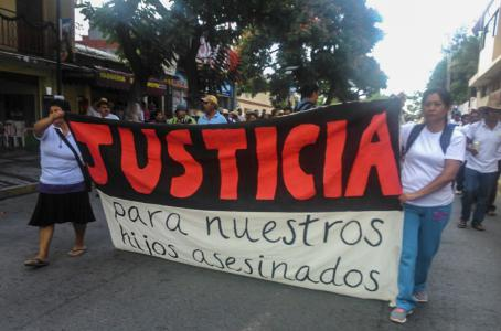 Family members claim for justice in Iguala, Guerrero.