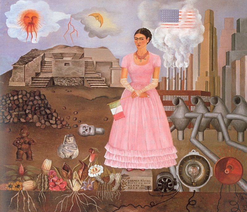 """Self-portrait on the Borderline Between Mexico and the United States"" by Frida Kahlo"