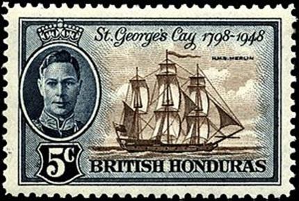 HMS Merlin (1798) Postage Stamp, British Honduras, 1948