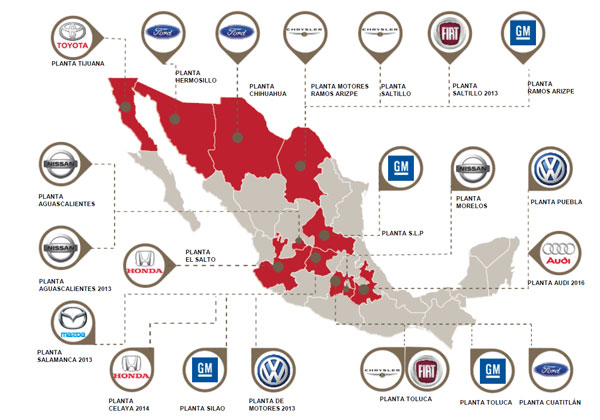 Light vehicle manufacturing plants in Mexico (Image: Automotive Meetings)