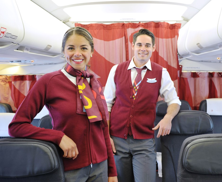 Good looking rouge crew on Air Canada rouge A319 (credit Air Canada rouge)