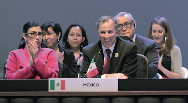 The Foreign Relations Secretary José Antonio Meade spoke about Mexico's commitment to unity at the Celac summit. NOTIMEX PHOTO/FRS