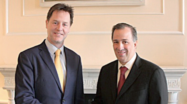 U.K. Liberal Democratic Party leader Nick Glegg, SRE's José Antonio Meade. (PHOTO: NOTIMEX)