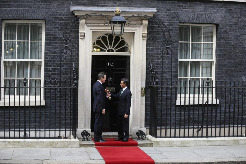 British Prime Minister David Cameron greets the President of Mexico, Enrique Pena Nieto, in Downing Street London,