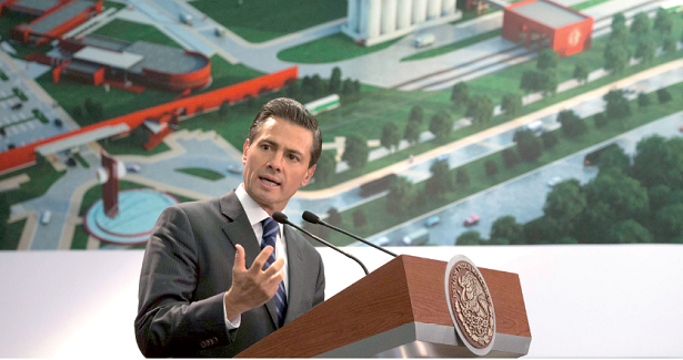 President Enrique Peña Nieto speaks during a ceremony to start construction on the Heineken brewery in Chihuahua. PHOTO COURTESY OF PRESIDENT'S OFFICE
