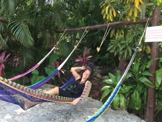 "Relaxing in ""Pueblo Maya"" (Photo: Jonathan Chim)"