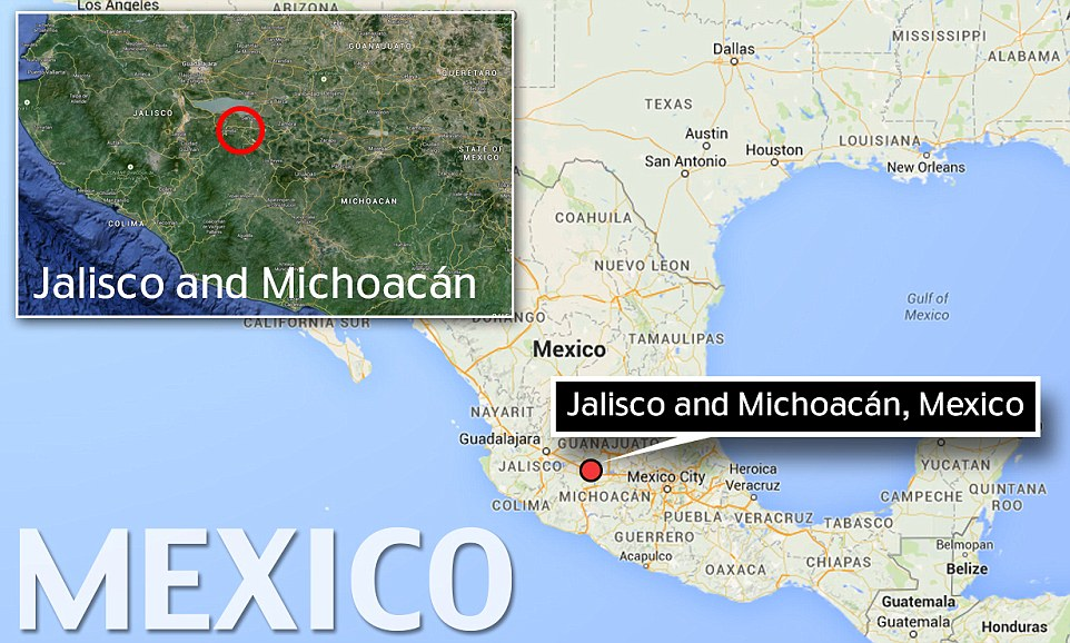 Friday's shootout took place near the border between the Mexican state of Michoacan and Jalisco, the center of the Jalisco New Generation gang (Image: Daily Mail)