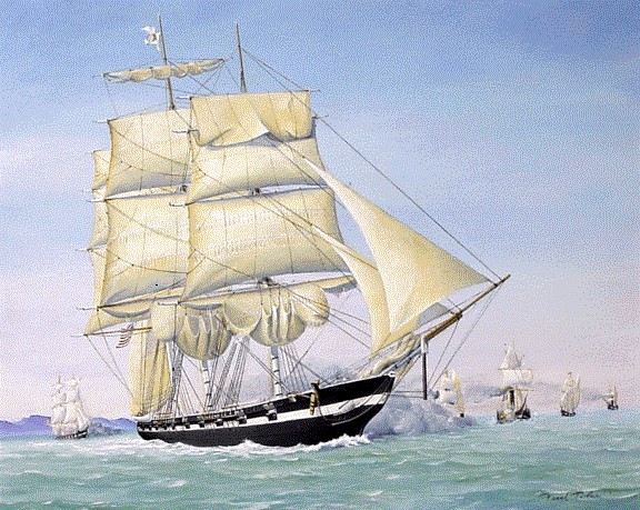 Sloop-of-war Austin, Republic of Texas Navy, in the Battle of Campeche Painting, San Jacinto Museum of History