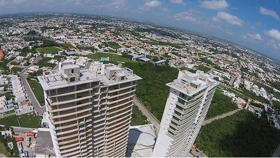 drone view country towers merida