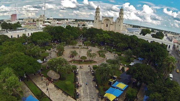 Plaza Grande Merida drone view (Google)