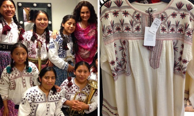 The pictures that were tweeted by musician Susana Harp. On the left, Harp, with the women of Tlahuitoltepec. On the right, the blouse from Marant's collection. (Photo: Courtesy Susana Harp)