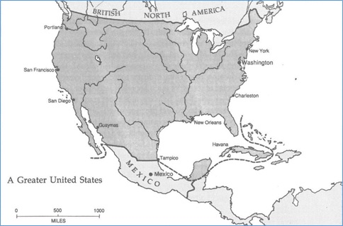 Proposed expansion of the United States to include Yucatán, Cuba, and northern Mexico [Susan Schulten, Mapping the Nation: History and Cartography in Nineteenth-Century America, University Of Chicago Press (2013).