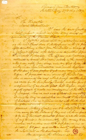 Original report of the raising of the Texas flag over Cozumel in 1837. (Ric Hajovsky)