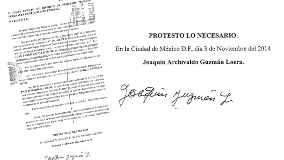 Document signed by Joaquín Guzmán Loera (Image: Univision)