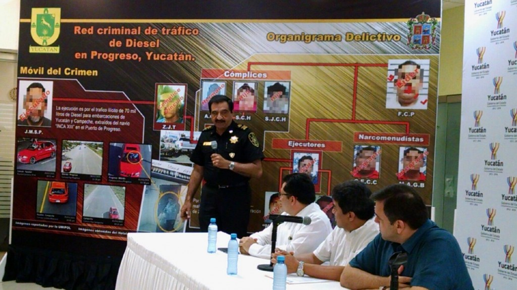 At a press conference authorities provided details on the arrest of a gang of fuel thieves (Photo: yucatan.com.mx)