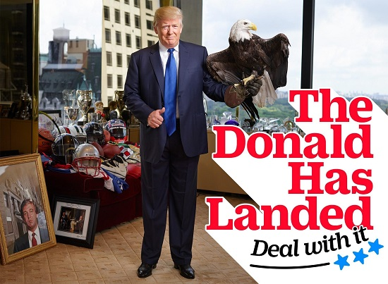 Donald Trump Poses With Bald Eagle for 'Time' Magazine (Photo: TIME)