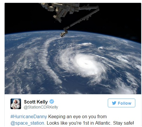"View of ""Danny"" from space (Photo: Twitter)"