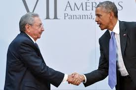 Presidents Castro and Obama, who will meet formally for the first time at the U.N. Tuesday Sept. 29, are shown at a previous meeting in Panama. (Photo: elnuevoherald.com)
