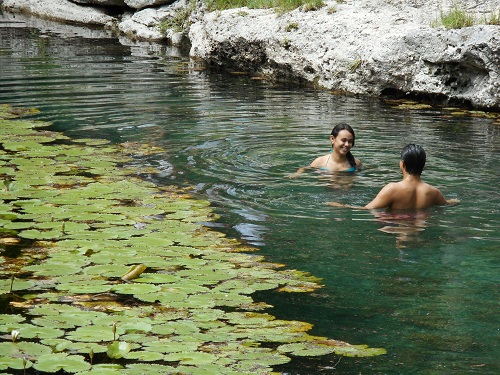 cenote w swimmers