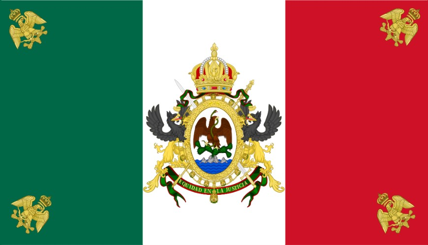 Flag of the Second Mexican Empire Reportedly designed by Emperor Maximiliano
