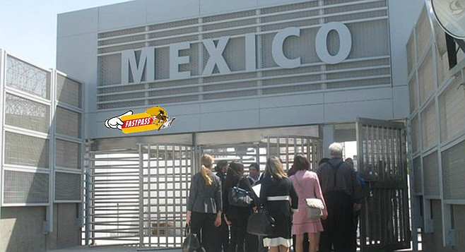 Pedestrians wait in line to pass through Mexico's new East Gate facility, apparently unmoved by Speedy Gonzales' promise of available rapid entry. (Photo: San Diego Reader)