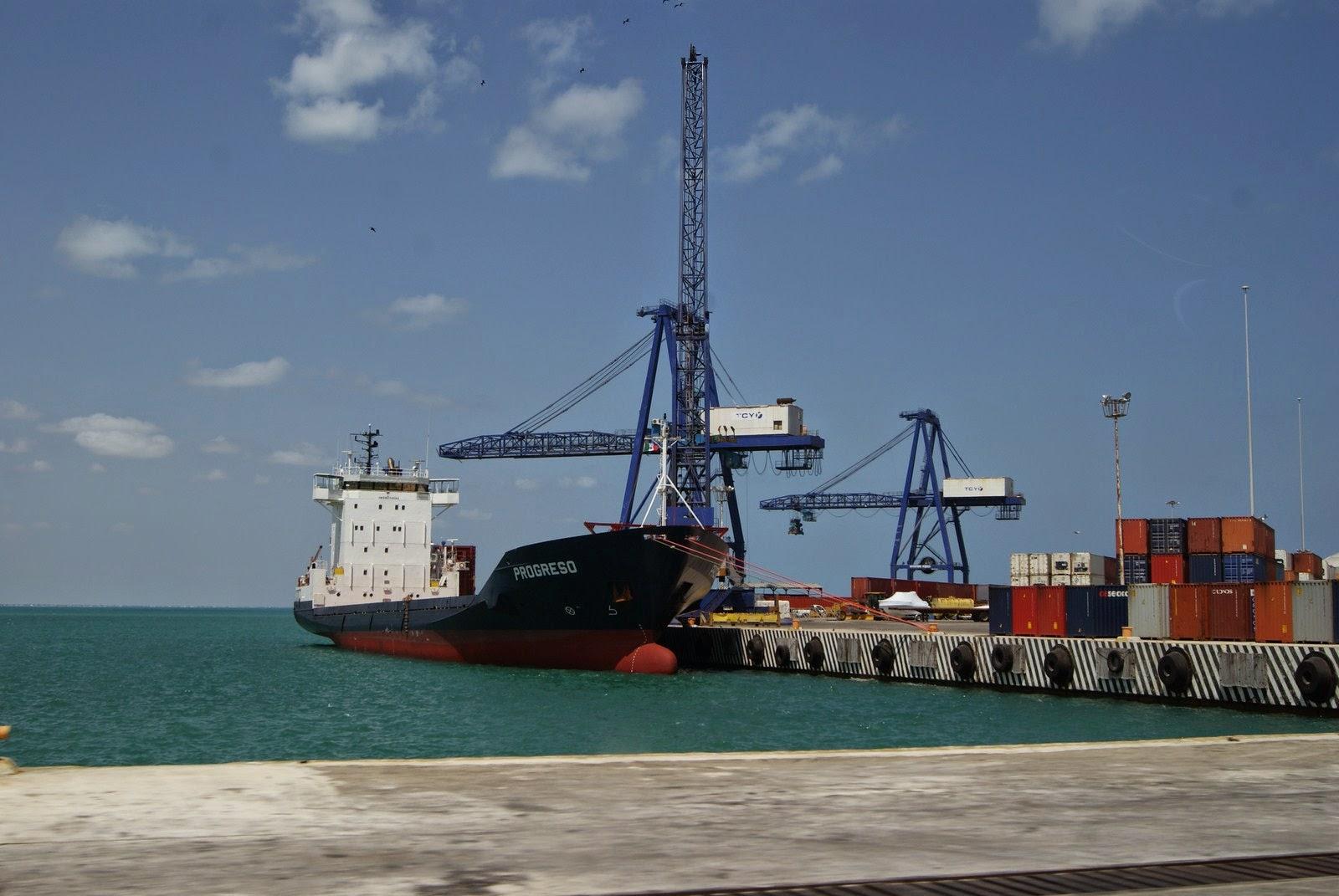 Photo: Puerto de Progreso A container ship loading at the Port of Progreso.
