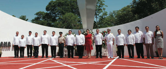 Officials attend a ceremony to celebrate the 41st anniversary of Quintana Roo. (Photo: THE NEWS MX)