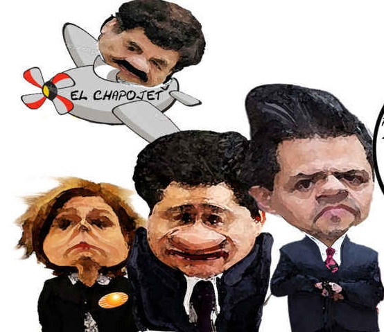 "Cartoon depicting an image of Peña Nieto, Osorio Chong and Arely Gomez and ""Chapo"" Guzman (Image: eltlaxcalteca.mx)"