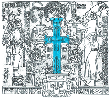 Example of pre-Christian Maya cross image Temple of the Cross, Palenque (From FAMSI, Drawing by Linda Schele.  Color added for clarity.)