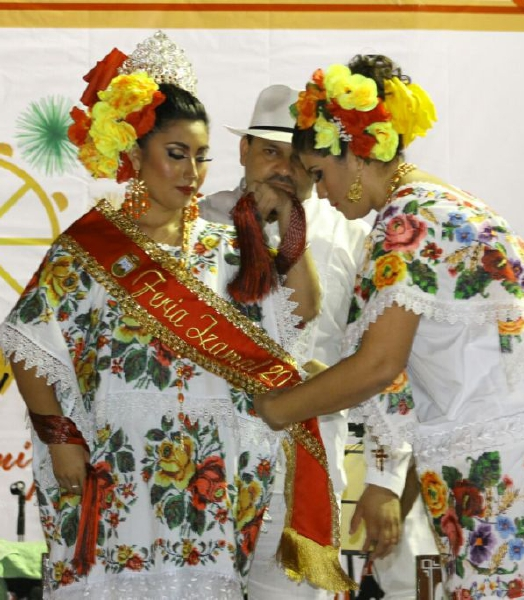 Photo: Diario de Yucatan Young women in traditional costumes participated in Izamal's vaqueria festival.